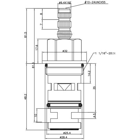 3/4 Three Quarter Inch 129.7mm Brass 2 Way Tub and Shower Diverter Cartridge