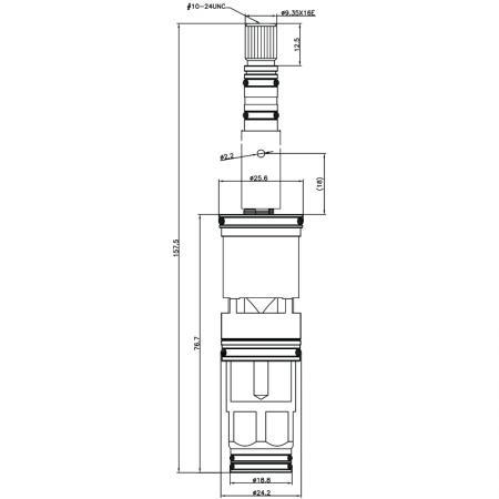 3/4 Three Quarter Inch 157.5mm Brass 2 Way Tub and Shower Diverter Cartridge - 3/4 Three Quarter Inch 157.5mm Brass 2 Way Tub and Shower Diverter Cartridge