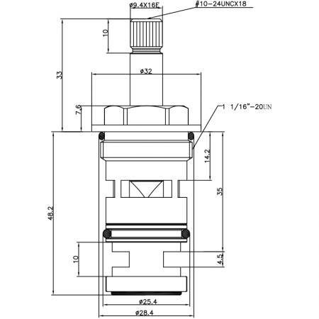 3/4 Three Quarter Inch 2 Way Brass HHG Type Polished Brass 16 Teeth 555 Broach Type 28.4 MM 180 Degree Clockwise Turn Diverter Cartridge