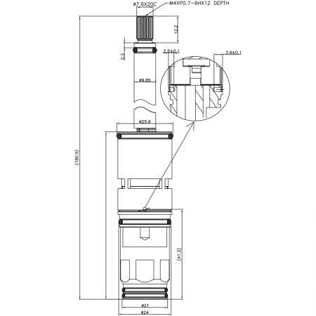 3/4 Three Quarter Inch 2 Way Brass HHR Type 20 Teeth 852 Broach Type 24 MM 180 Degree Clockwise Turn Diverter Cartridge