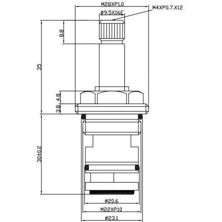 1/2 Half Inch 65mm Brass 2 Way Tub and Shower Diverter Cartridge - 1/2 Half Inch 65mm Brass 2 Way Tub and Shower Diverter Cartridge