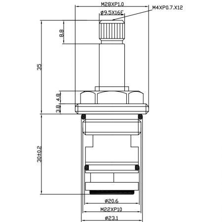 1/2 Setengah Inch 65mm Brass 2 Way Tub and Shower Diverter Cartridge