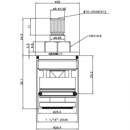 3/4 Three Quarter Inch 59.6mm Brass 2 Way Tub and Shower Diverter Cartridge
