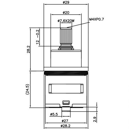 27mm 2 Port 2 Function Brass HJV Type Laser 20 Teeth 818 Broach Type 28.2 MM 90 Degree Turn Diverter Cartridge