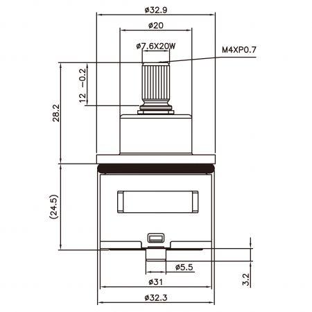 31mm 2 Port 2 Function Brass HJW Type Laser 20 Teeth 818 Broach Type 32.3 MM 90 Degree Turn Diverter Cartridge