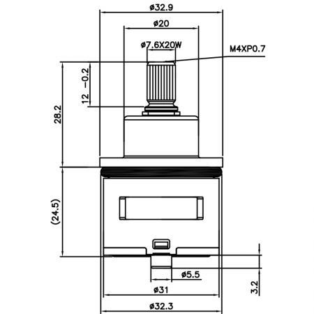 31mm 3 Port 6 Function Brass HKC Type Laser 20 Teeth 818 Broach Type 32.3 MM 360 Degree Turn Diverter Cartridge