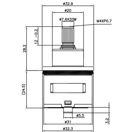 31mm 3 Port 3 Function Brass HKD Type Laser 20 Teeth 818 Broach Type 32.3 MM 120 Degree Turn Diverter Cartridge
