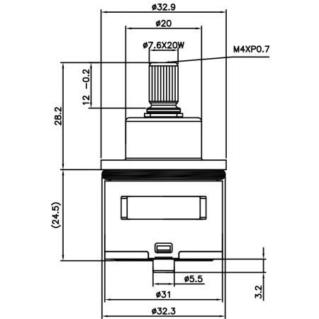 31mm 3 Port 6 Function Brass HKE Type Laser 20 Teeth 818 Broach Type 32.3 MM 360 Degree Turn Diverter Cartridge