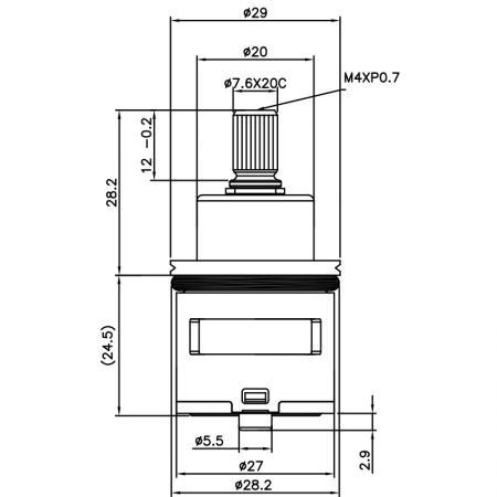 27mm 2 Port DR Brass HKF Type Laser 20 Teeth 818 Broach Type 28.2 MM 180 Degree Clockwise Turn Diverter Cartridge