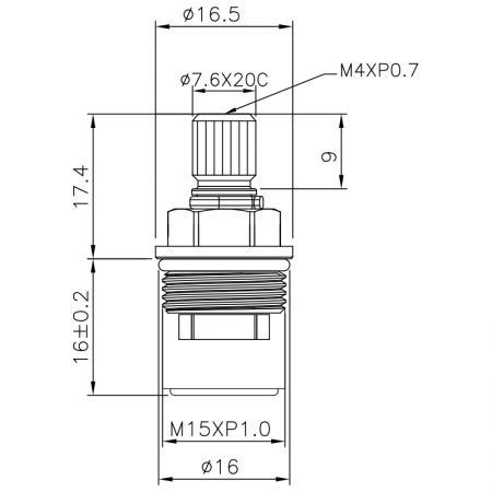 1/4 Quarter Inch Brass Two Handle Faucet HLD Type 7.6 X 20C Teeth  737 Broach Type M15 X P1.0 90 Degree Clockwise Turn Close Ceramic Cartridge