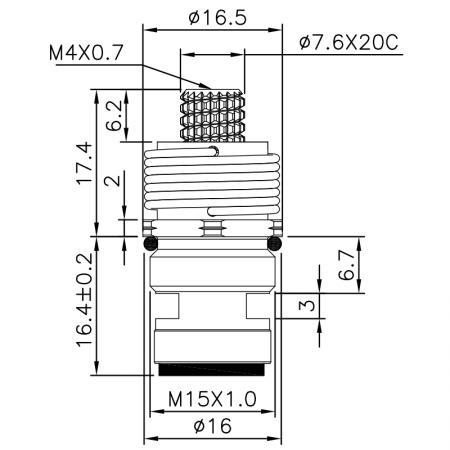 1/4 Quarter Inch Brass Two Handle Faucet HMZ Type 7.6 X 20C Teeth  612 Broach Type M15 X P1.0 90 Degree Clockwise Turn Close Ceramic Cartridge