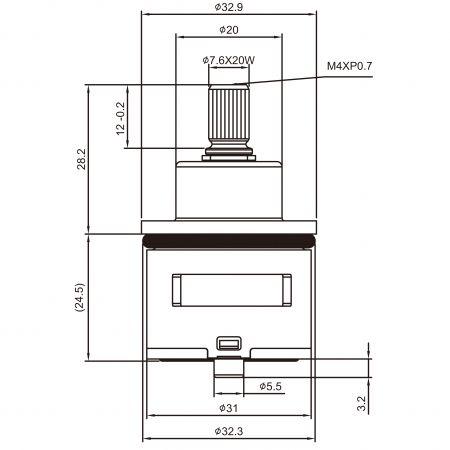 31mm 2 Port 2 Function Brass HND Type Laser 20 Teeth 818 Broach Type 32.3 MM 45 Degree Turn Diverter Cartridge