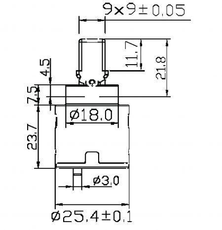 25mm 2 Port 2 Function Plastic Base Base 100 Degree Turn Diverter Cartridge