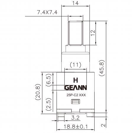 18mm 2 Port Plastik Standard Base 90 Degree Anti-Clockwise Turn Ceramic Disc Cartridge Untuk Air Penapis - 18mm 2 Port Plastik Standard Base 90 Degree Anti-Clockwise Turn Ceramic Disc Cartridge Untuk Air Penapis