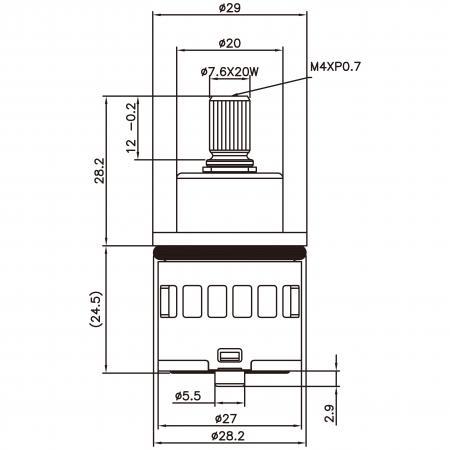 27mm 2 Port 2 Function Plastic Base Base 90 Degree Turn Diverter Cartridge - 27mm 2 Port 2 Function Plastic Base Base 90 Degree Turn Diverter Cartridge