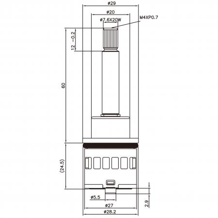 27mm 2 Port 2 Function Plastic Base Base M4XP0.7 90 Degree Turn Diverter Cartridge - 27mm 2 Port 2 Function Plastic Base Base M4XP0.7 90 Degree Turn Diverter Cartridge