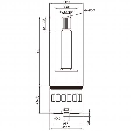 27mm 2 Port 2 Function Plastic Base Base M4XP0.7 90 Degree Turn Diverter Cartridge
