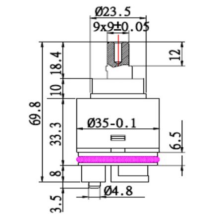 Kartrij Seramik Single Lever / Mixer Penjimatan Tenaga 35mm dengan Pangkalan Pengedar - Kartrij Seramik Single Lever / Mixer Penjimatan Tenaga 35mm dengan Pangkalan Pengedar