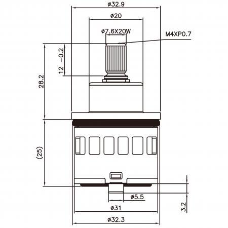 31mm 2 Port 3 Function Plastic Base Base 90 Degree Turn Diverter Cartridge Dengan Fungsi Berkongsi - 31mm 2 Port 3 Function Plastic Base Base 90 Degree Turn Diverter Cartridge Dengan Fungsi Berkongsi