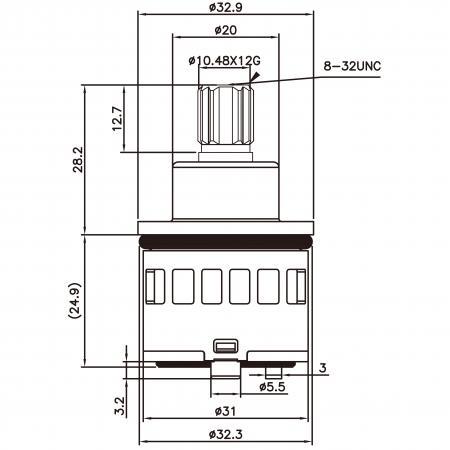 31mm 2 Port 4 Function Plastic Standard Base 360 Degree Turn Diverter Cartridge No Off