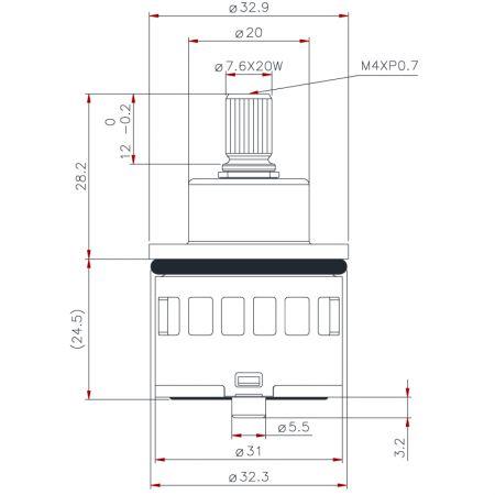 31mm 2 Port 180 dgree turn Non-Shared Diverter Cartridge - 31mm 2 Port 180 dgree turn Non-Shared Diverter Cartridge