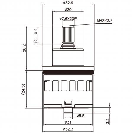31mm 2 Port 2 Function Plastic Base Base 90 Degree Turn Diverter Cartridge - 31mm 2 Port 2 Function Plastic Base Base 90 Degree Turn Diverter Cartridge