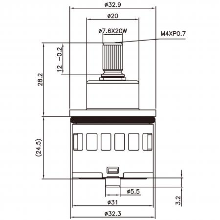 31mm 2 Port 2 Function Plastic Base Base 90 Degree Turn Diverter Cartridge