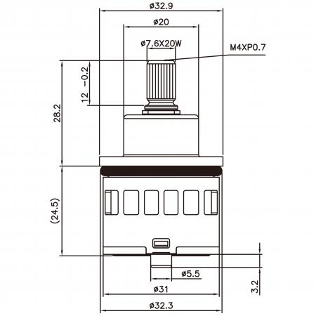 31mm 3 Port 3 Function Plastic Base Base 120 Degree Turn Diverter Cartridge Dengan Fungsi Berkongsi