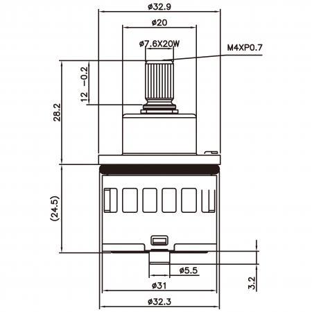 31mm 3 Port 6 Function Plastic Standard Base 360 Degree Turn Diverter Cartridge - 31mm 3 Port 6 Function Plastic Standard Base 360 Degree Turn Diverter Cartridge
