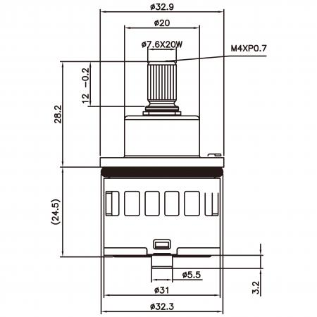 31mm 3 Port 6 Function Plastic Base Base 360 Degree Turn Diverter Cartridge