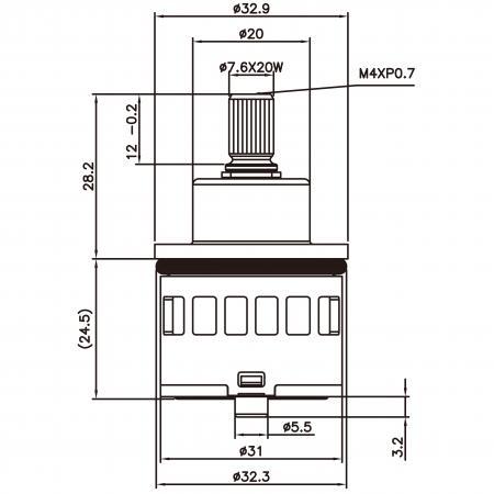 31mm 3 Port 6 Function Plastic Base Base 360 Degree Turn Diverter Cartridge Dengan Fungsi Berkongsi - 31mm 3 Port 6 Function Plastic Base Base 360 Degree Turn Diverter Cartridge Dengan Fungsi Berkongsi