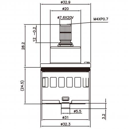 31mm 3 Port 5 Function Plastic Base Base 360 Degree Turn Diverter Cartridge Dengan Fungsi Berkongsi - 31mm 3 Port 5 Function Plastic Base Base 360 Degree Turn Diverter Cartridge Dengan Fungsi Berkongsi
