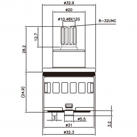 31mm 3 Port 6 Function Plastic Base Base 360 Degree Turn Diverter Cartridge Tidak Mati - 31mm 3 Port 6 Function Plastic Base Base 360 Degree Turn Diverter Cartridge Tanpa Fungsi Mati