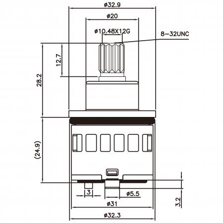 31mm 3 Port 6 Function Plastic Standard Base 360 Degree Turn Diverter Cartridge Tidak Mati - 31mm 3 Port 6 Function Plastic Base Base 360 Degree Turn Diverter Cartridge Tanpa Fungsi Mati