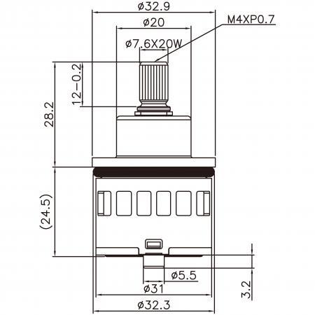 31mm 3 Port 2 Function Plastic Base Base 90 Degree Turn Diverter Cartridge - 31mm 3 Port 2 Function Plastic Base Base 90 Degree Turn Diverter Cartridge