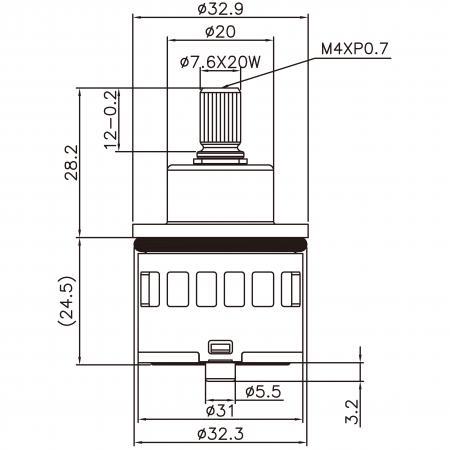 31mm 3 Port 3 Function Plastic Base Base 90 Degree Turn Diverter Cartridge - 31mm 3 Port 3 Function Plastic Base Base 90 Degree Turn Diverter Cartridge