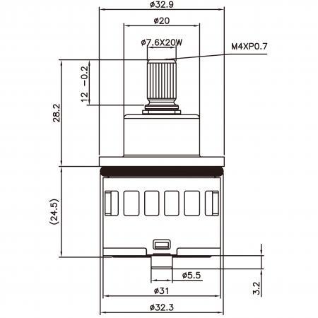 31mm 3 Port 3 Function Plastic Base Base 120 Degree Turn Diverter Cartridge