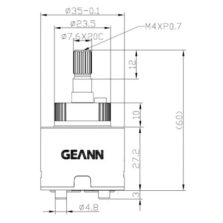 35mm Progressive Standard Base 120 Degree Clockwise Turn Close Ceramic Disc Cartridge