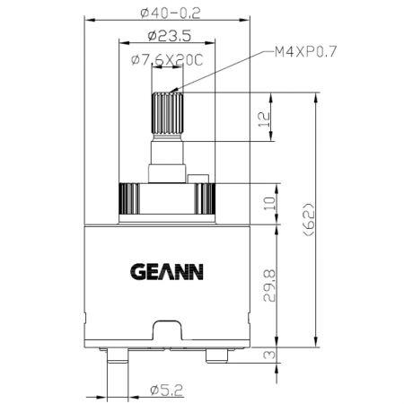 40mm Progressive Standard Base 120 Degree Clockwise Turn Close (RTC) Cartridge Disc Keramik - 40mm Progressive Standard Base 120 Degree Clockwise Turn Close Ceramic Disc Cartridge