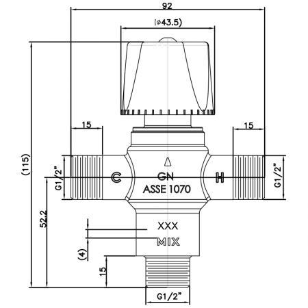 "Injap Pencampuran Termostatik G1 / 2 "" - Injap Pencampuran Termostatik G1 / 2 """