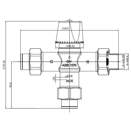 "Injap Pencampuran Termostatik G3 / 4 "" - Injap Pencampuran Termostatik G3 / 4 """