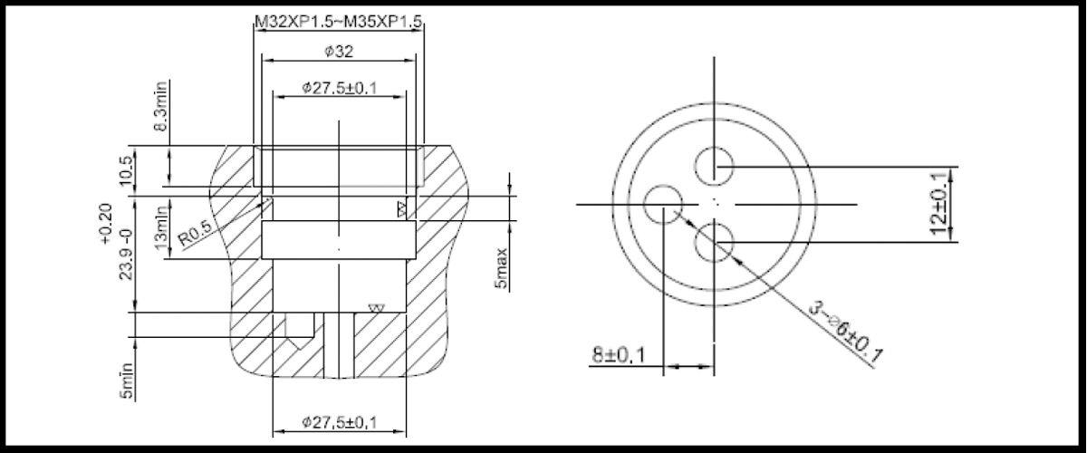 27mm 2 Port 2 Function Brass HJV Type Laser 20 Teeth 818