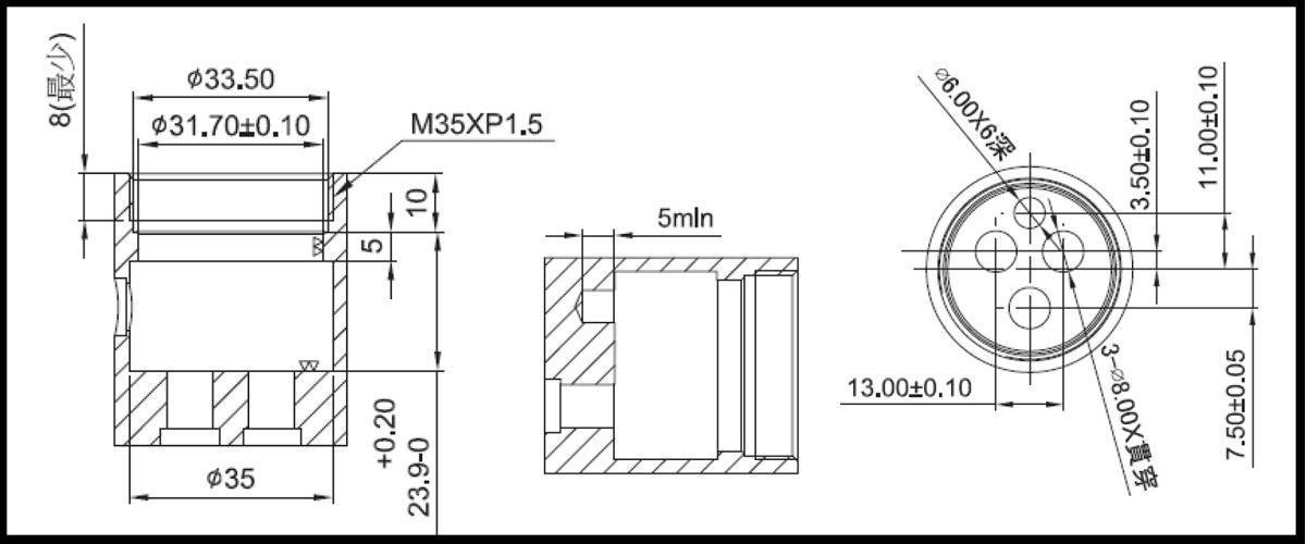 31mm 3 Port 3 Function Brass HJX Type Laser 20 Teeth 818