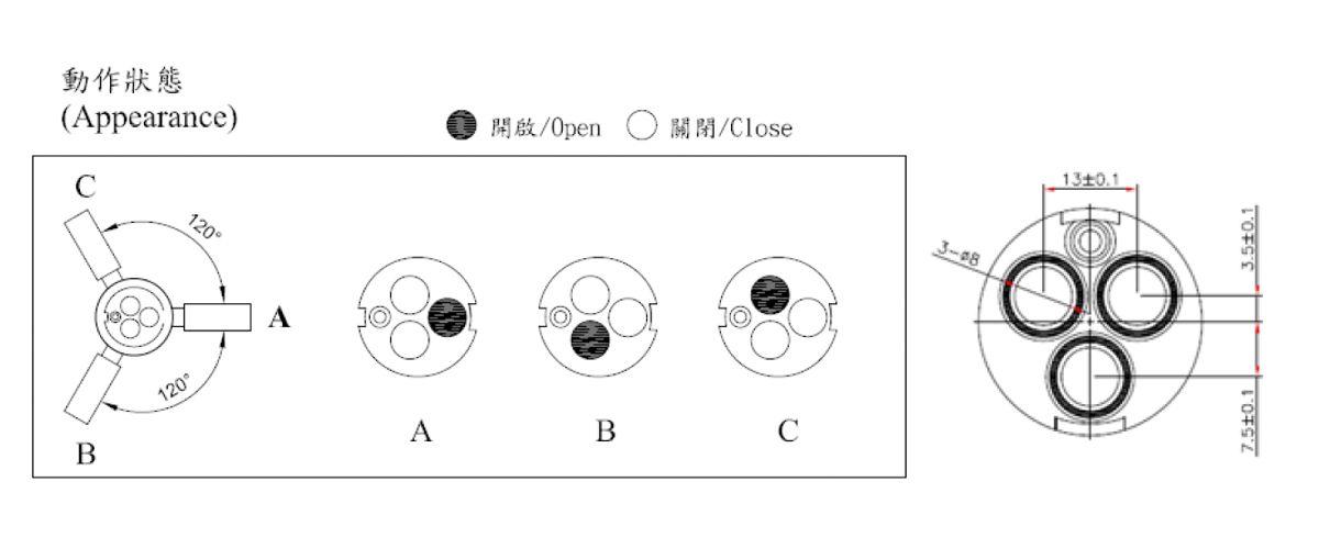 31mm 3 Port 3 Function Brass HKD Type Laser 20 Teeth 818