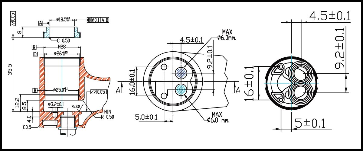 25mm Plastic Distributor Base Single Handle 100 Degree