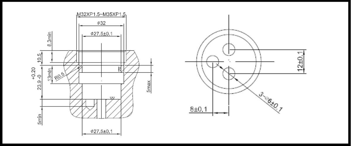 27mm 2 Port 2 Function Plastic Standard Base 180 Degree