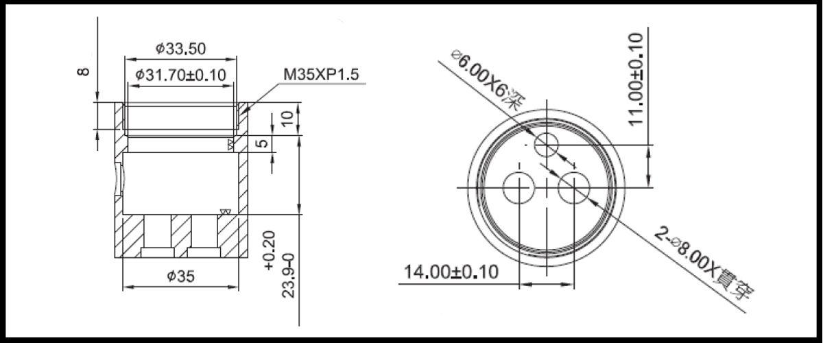 31mm 2 Port 3 Function Plastic Standard Base 90 Degree