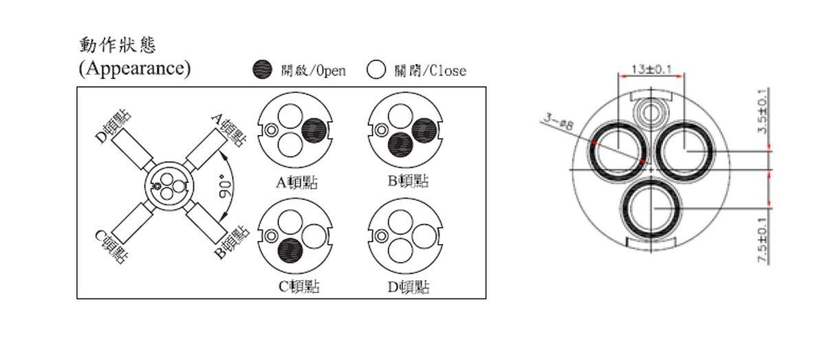 31mm 3 Port 3 Function Plastic Standard Base 90 Degree