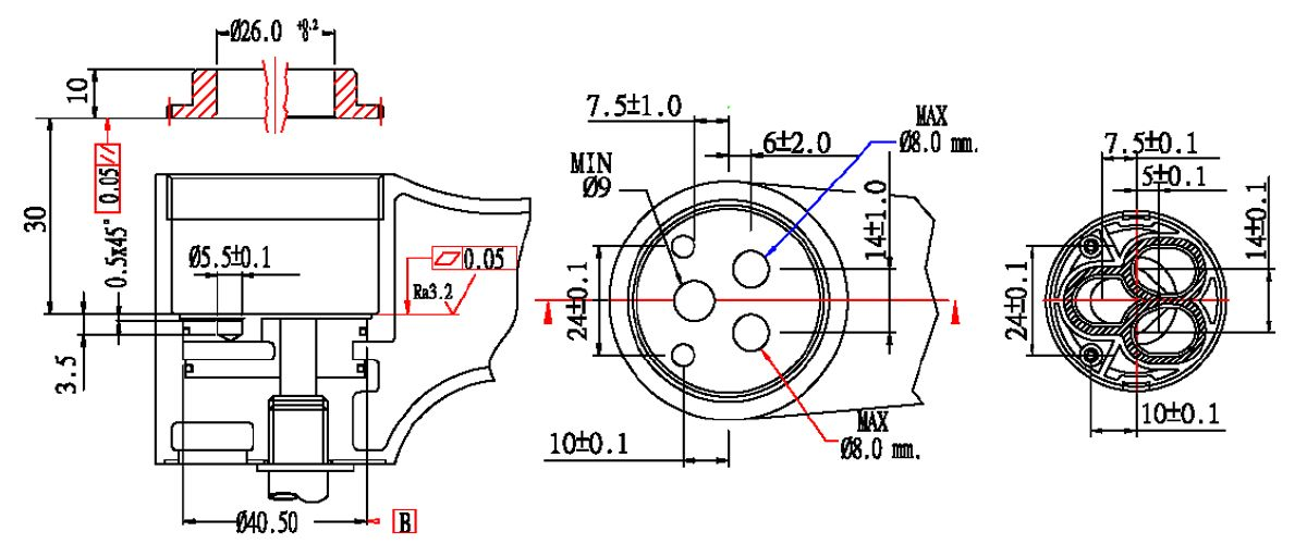 40mm Plastic Standard Base Single Handle 90 Degree Turning