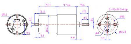 外徑30mm 齒輪箱3V-24V直流馬達外觀圖,掃地機器人馬達製造商。